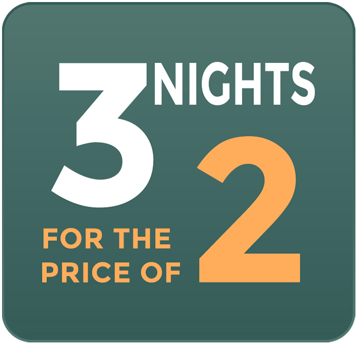 3 NIGHTS FOR THE PRICE OF 2!